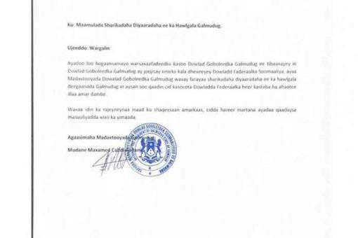 Maamulka Galmudug Oo Deegaannadiisa ka Mamnuucday Mas'uuliyiinta Dowladda Somaliya