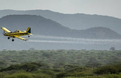 Crews use spray planes to combat massive locust swarms in East Africa